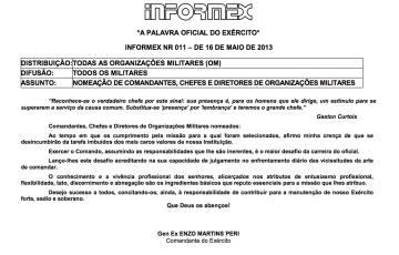 Informe do Exército de maio de 2013 anunciando a mudança de posto de alguns oficiais.