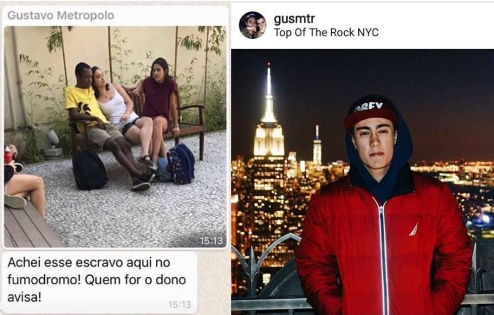 Comentários racistas feitos pelo aluno Gustavo Metropolo, da FGV (à direita)