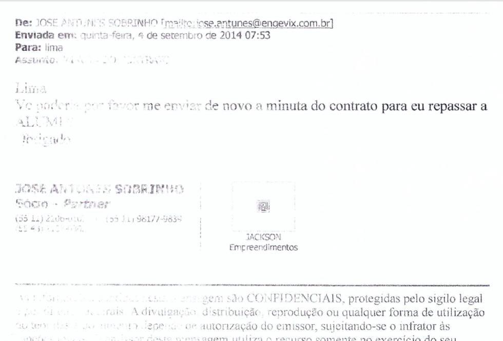 E-mail supostamente enviado pelo empresário José Antunes Sobrinho ao coronel Lima com o texto seguinte: