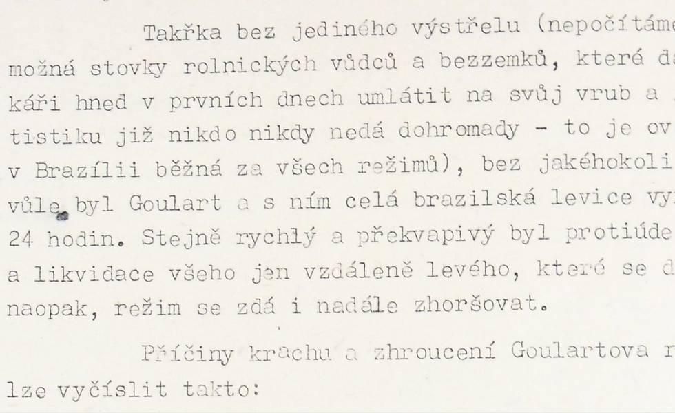 Trecho do relatório do serviço de inteligência tchecoslovaco sobre o golpe de 1964.
