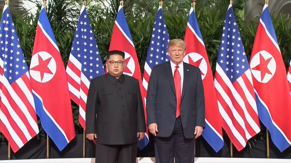 Kim Jong-un e trump em Singapura