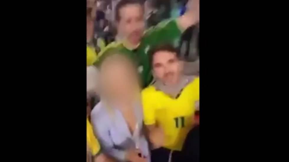 Reprodução do vídeo dos brasileiros fazendo a 'brincadeira'.