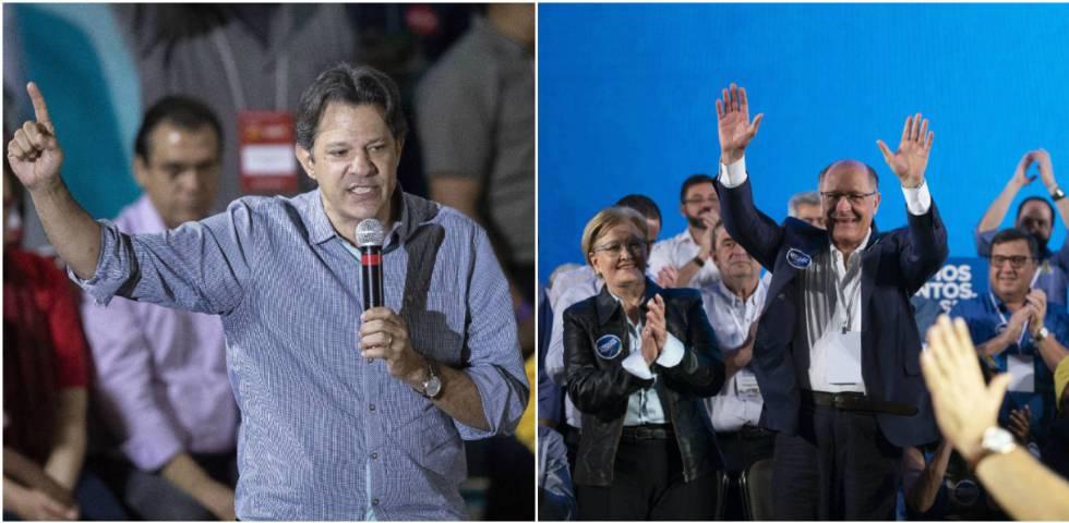 Fernando Haddad e Geraldo Alckmin, no último sábado, 4