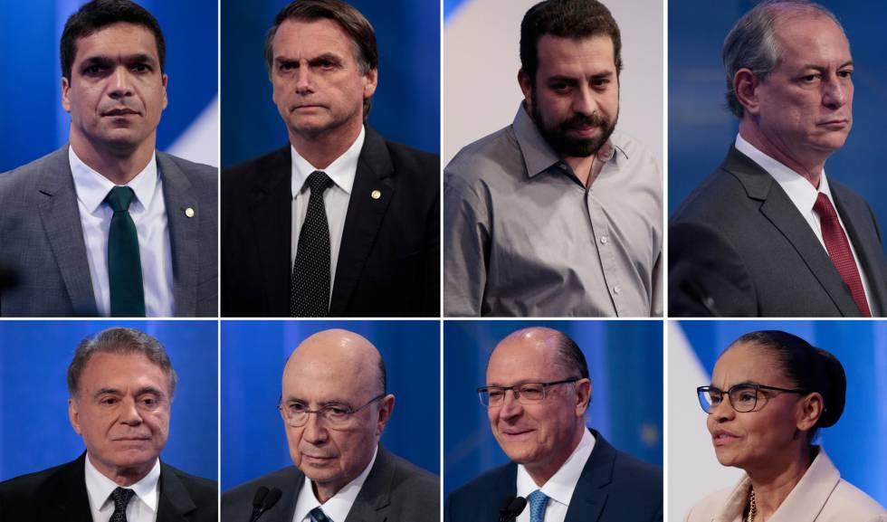 Montagem dos candidatos durante o último debate.