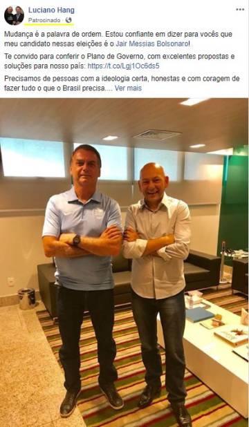 Dono da Havan desafia lei eleitoral para promover Bolsonaro no Facebook