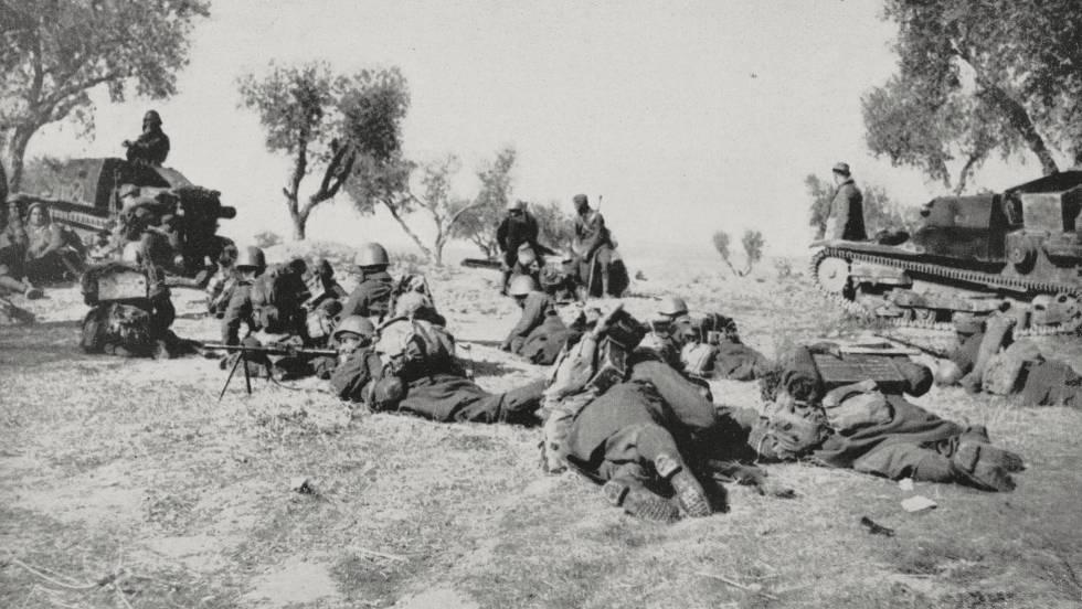 Imagem de um confronto na Guerra Civil espanhola.