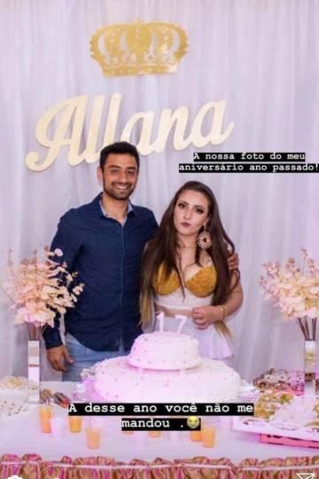 Foto de Allana ao lado de Daniel no aniversário da jovem em 2017.