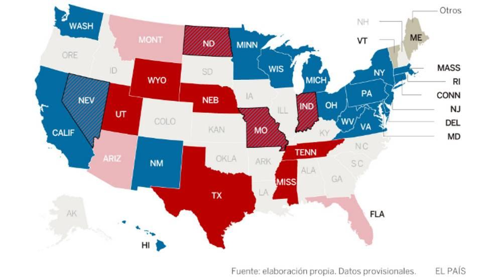 Mapa de votação para Senado. Em azul, o desempenho dos democratas (claro é onde eles lideram, escuro onde ganharam e em listrado os votos que eles reverteram). Em vermelho, o dos republicanos (legenda idem)