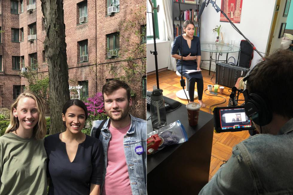 Naomi Burton com Alexandria Ocasio-Cortez e Nick Hayes. À direita, Ocasio grava seu vídeo viral produzido pela dupla