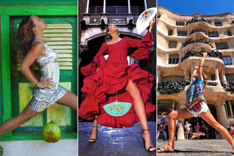 Kim Anami posa para fotos segurando objetos pesados de diversos tipos que pendem de uma corda entre suas pernas.