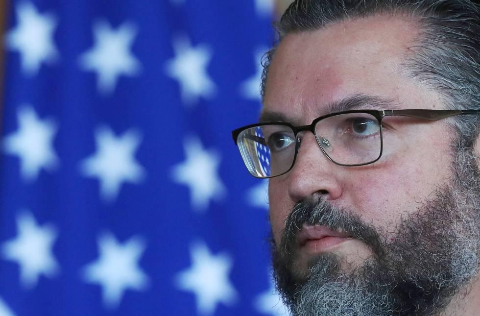 Ernesto Araújo, durante conferência de imprensa com o secretário de Estado dos EUA, Mike Pompeo.