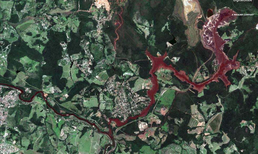 Foto de satélite do rio Paraopeba na região de Brumadinho.