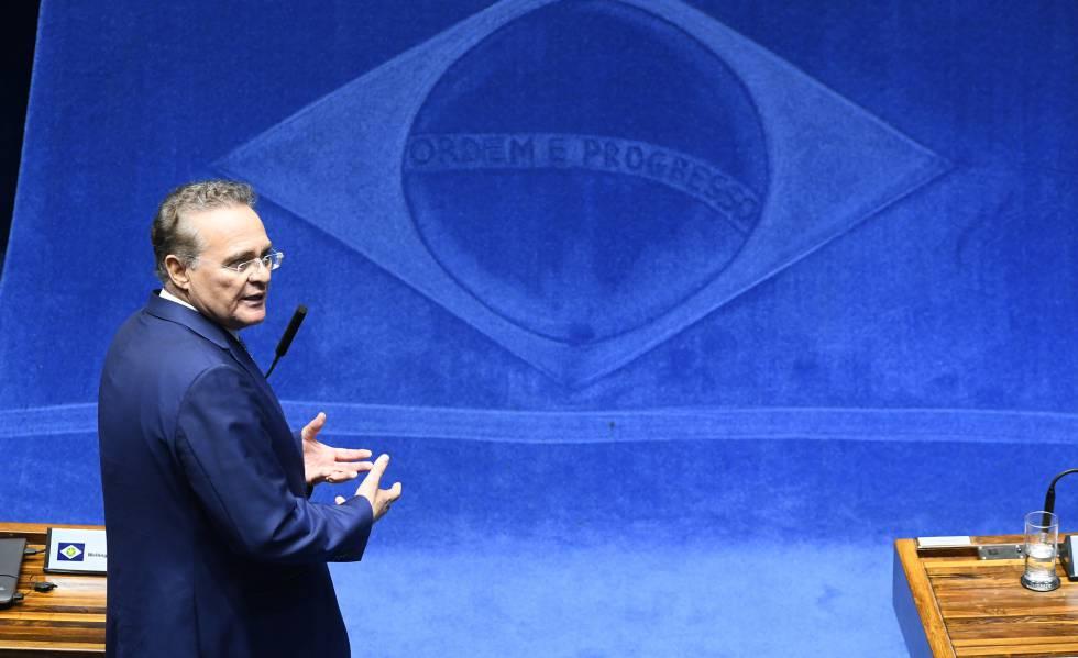 Renan Calheiros em pronunciamento em dezembro passado,