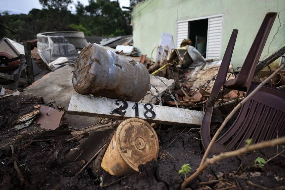 Casa no Córrego do Feijão foi levada pela lama.