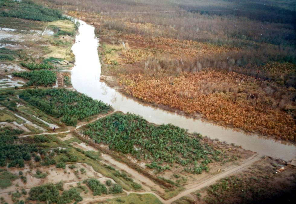Imagem de novembro de 1962 mostra o efeito do agente laranja na margem direita do rio.
