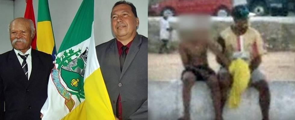 El técnico Ivanildo Nunes (al izq.) recibió homenaje en Arapiraca después de haber sido flagrado molestando un chico en un campo de fútbol.