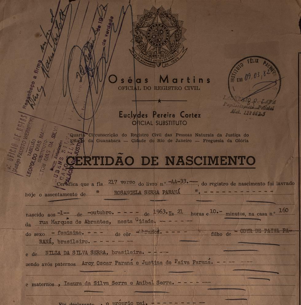 Certidão de nascimento forjada de Rosângela Serra Paraná.