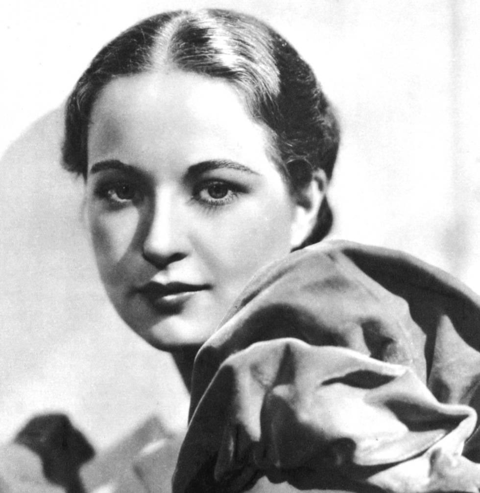 Evelyn Venable, que afirmava ter sido a modelo do logo da Columbia Pictures em 1939, em uma imagem publicitária tirada em Londres em 1935