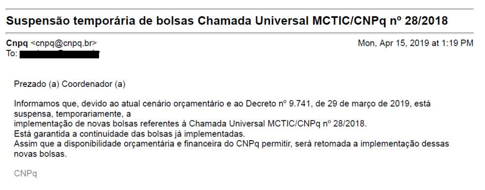 Email enviado pelo CNPQ para pesquisadores.