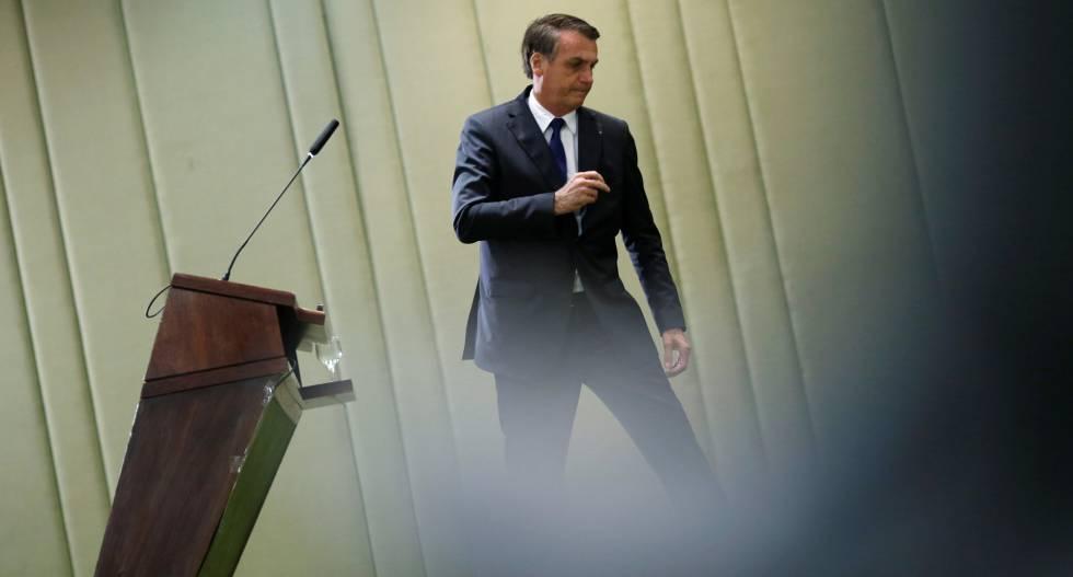 Jair Bolsonaro, durante cerimônia no palácio do Itamaraty, nesta sexta.
