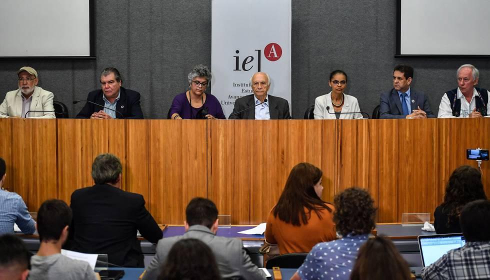 Sete ex-ministros do meio ambiente, reunidos nesta quarta na USP.