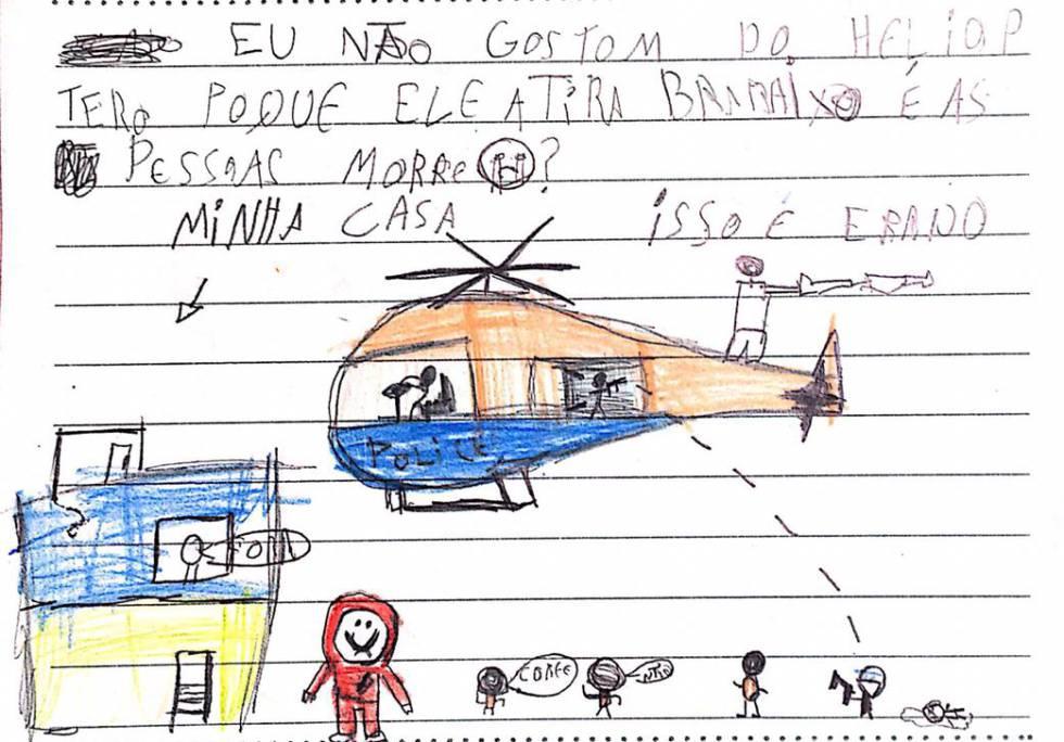 Um dos desenhos enviados crianças da Maré à Justiça do Rio.