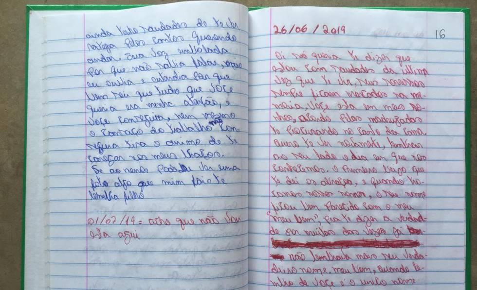O caderno de Aílton com a carta enviada à companheira assassinada.