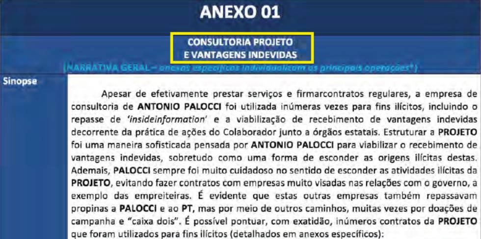 Primera página de la propuesta de colaboración del ex-ministro Antonio Palocci.