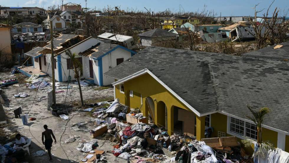 Bairro destruído em Great Abaco (Bahamas) no sábado, 7 de setembro, depois da passagem do furacão Dorian.