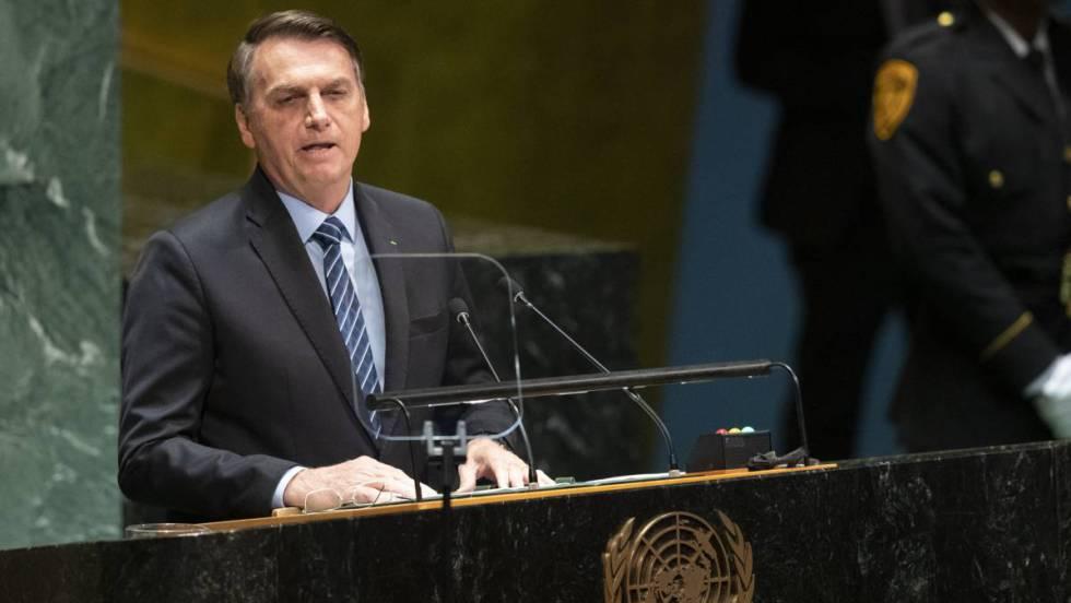 O presidente Jair Bolsonaro discursa na cerimônia de abertura da Assembleia Geral da ONU, em Nova York, nesta terça-feira.