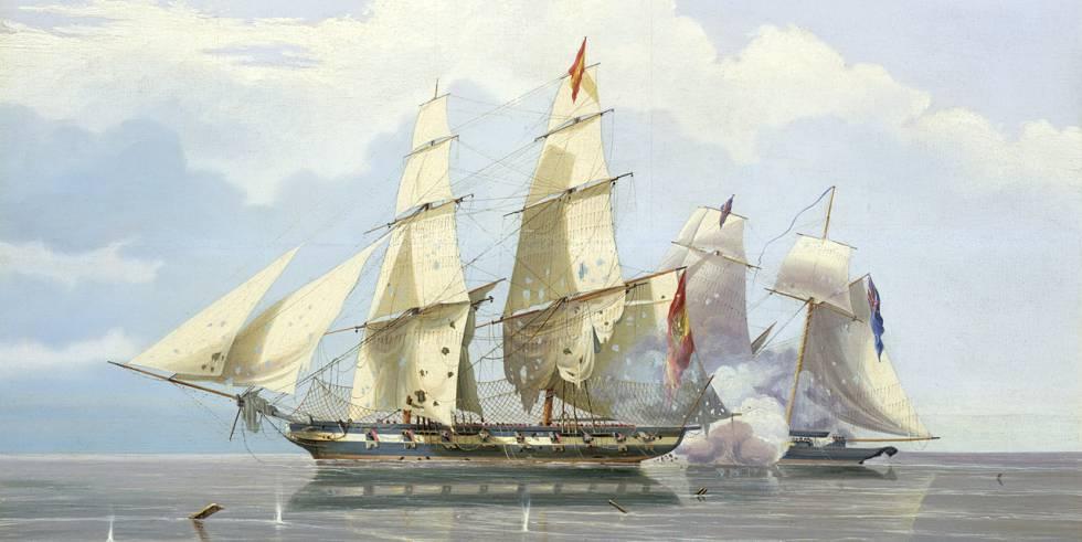Pintura de William John Huggins en la qual es reprodueix la captura del vaixell negrer espanyol 'Formidable'.