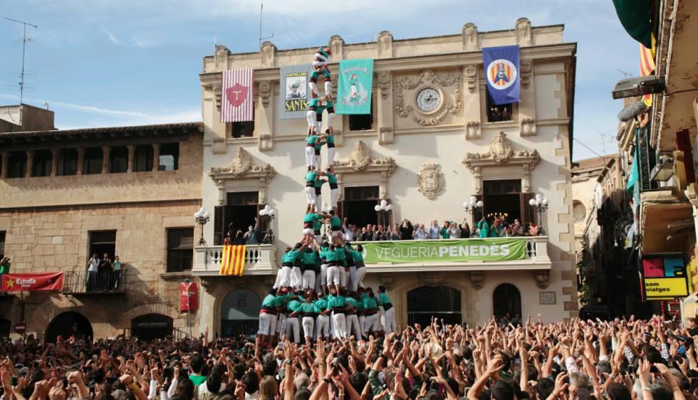 El 3de10 dels castellers de Vilafranca, el 2013.