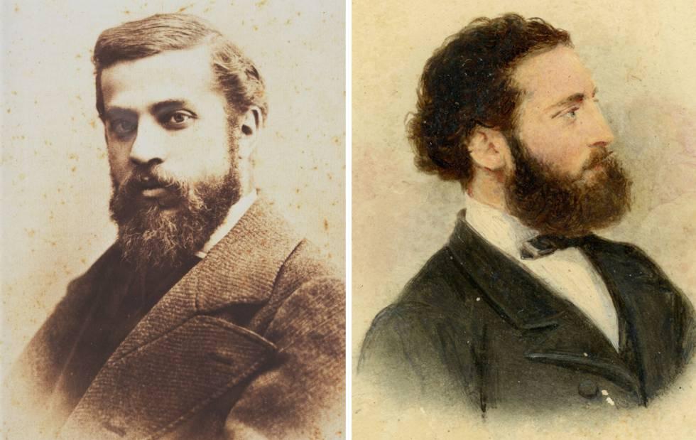 Antoni Gaudí el 1878, amb 26 anys, en la seva imatge més coneguda de Pau Audouard. A la dreta, la foto d'un suposat Gaudí, realitzada per Leopoldo Rovira, també el 1878.