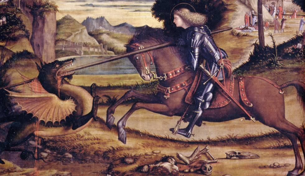 Representació de Sant Jordi matant el drac, del segle XVI.