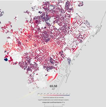 Barcelona vista segons els metres quadrats dels seus habitatges.
