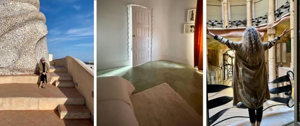 Ana Viladomiu al terrat i al vestíbul de La Pedrera, sola, durant el seu confinament. Al centre, una de les habiatcions del seu pis, creat per Gaudí. Imatges del seu compte d'Instagram @ana_viladomiu