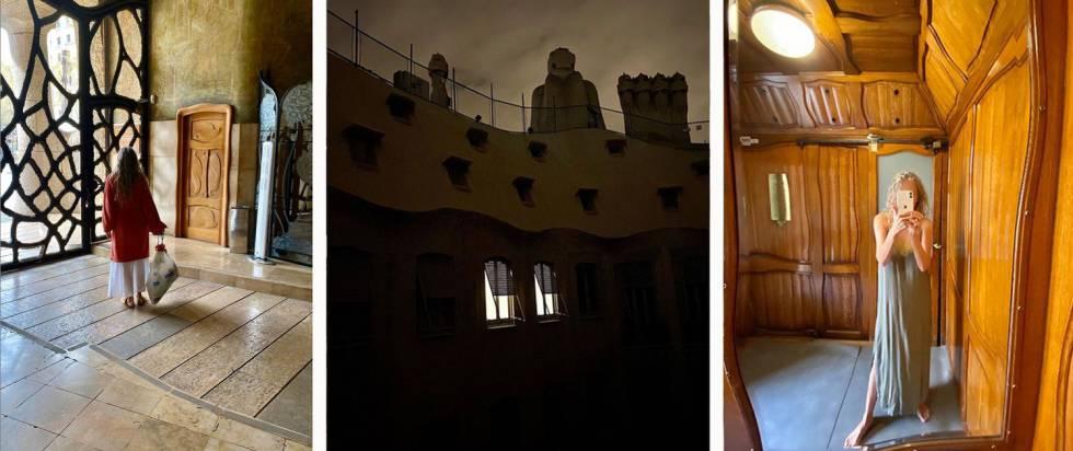 Ana Viladomiu, en camisón, baja la basura o en el elevador de su casa, La Pedrera, durante su reclusión. En el centro, el edificio de noche. Estas son fotos de su cuenta de Instagram @ana_viladomiu.