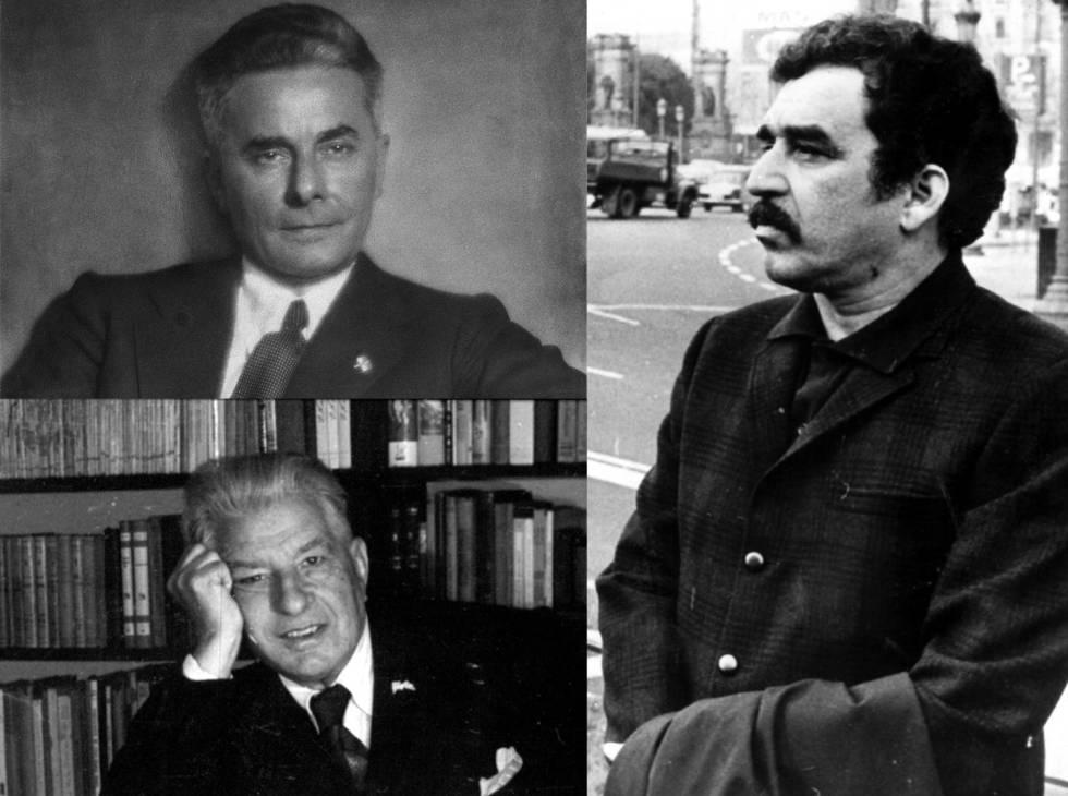 Massimo Bontempelli (a dalt), Ramon Vinyes i Gabriel García Márquez.