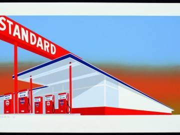 'Standard Station', una serigrafia en color d'Ed Ruscha, 1966.