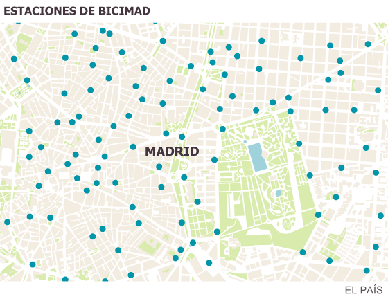 The location of the bike stations in Madrid.