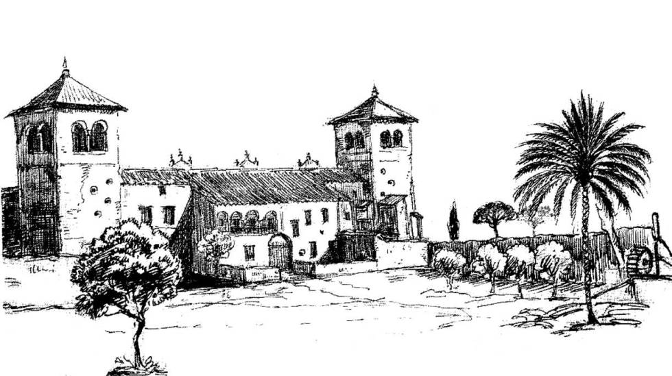 Ilustración elaborada en el siglo XIX por Richard Ford de la Hacienda Guzmán, en Sevilla.