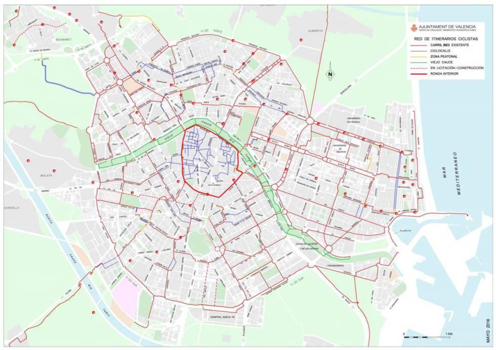 Nuevo mapa de carril bici en Valencia.