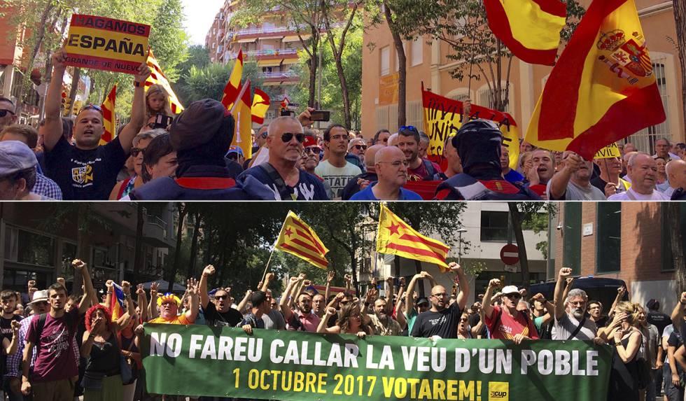 Manifestaciones a favor y en contra de la Guardia Civil en Barcelona.