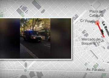 Así ha sido el recorrido de la furgoneta del atentado de Barcelona