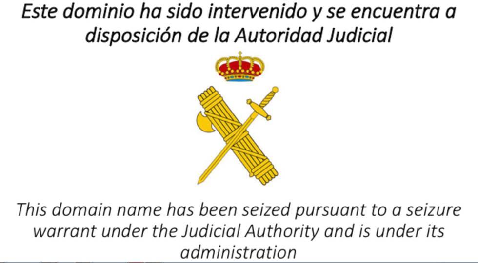 Captura del cartel que figuraba en el acceso a la página web de la ANC.