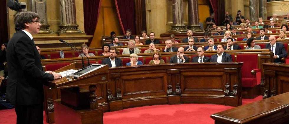 Carles Puigdemont, este martes, en su comparecencia ante el Parlament.