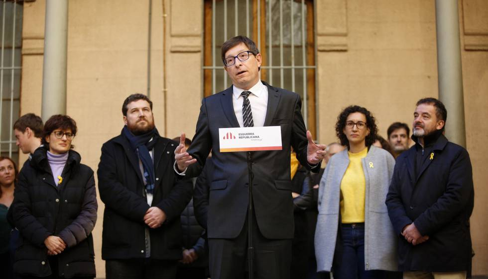 Former Catalan government minister Carles Mundó, recently released from jail, at an ERC campaign event on Tuesday.