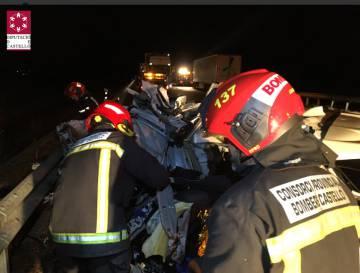 La dotación del CPBC en el lugar del accidente.  Imagen del CPBC