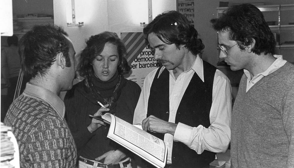 Los fundadores de 'L'Avenç': Fèlix Manito (izquierda), Carmen Isasa, Leandre Colomer y Ferran Mascarell.