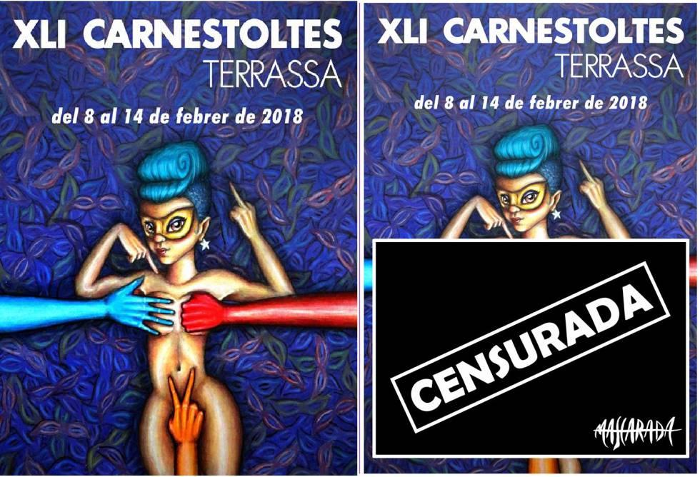 El cartel del carnaval de Terrassa, antes y después del cambio.